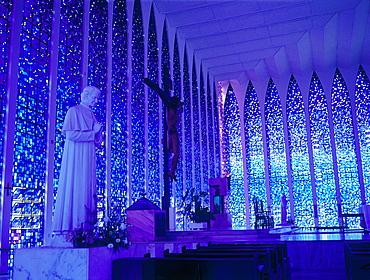Brazil, Goias, Brasilia, The Administrative Capital Created Par President Kubitschek And Designed By Brasilian Town Planner Lucio Costa & Architect Oscar Niemeyer, Interior Of The Blue Church