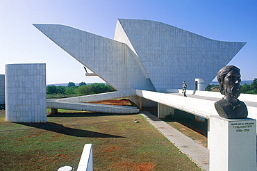 Brazil, Goias, Brasilia, The Administrative Capital Created Par President Kubitschek And Designed By Brasilian Town Planner Lucio Costa & Architect Oscar Niemeyer, Small Church Of N, D, De Fatima, Bust Of National Heroe Tiradentes At Fore