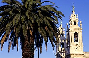 Portugal, Lisbon, Bell Tower And Dome Of The Baroque Church La Estrella, Palme At Fore