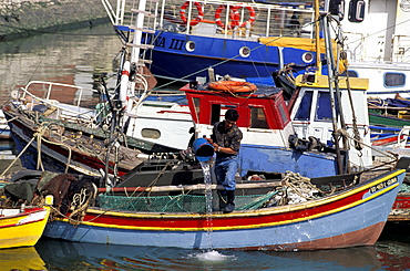 Portugal, Lisbon, Fishing Boat Small Harbour At 25 Abril Bridge Foot