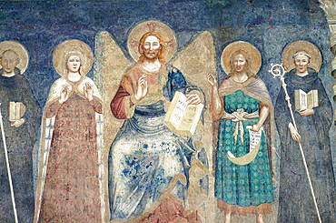 Italy, Emilia Romagna, Ferrara, Frescoe Of Christ And Disciples In The Cathedral (Duomo)