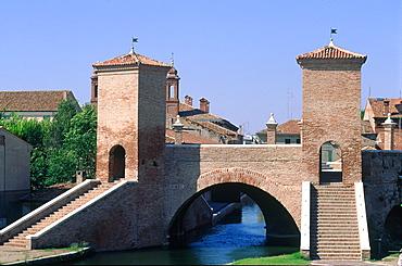 Italy, Emilia Romagna, River Po Delta, Comarchio, The Famous Bridge With Towers