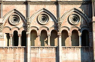 Italy, Emilia Romagna, Ferrara, Partial View Of The Cathedral (Duomo) Main Facade