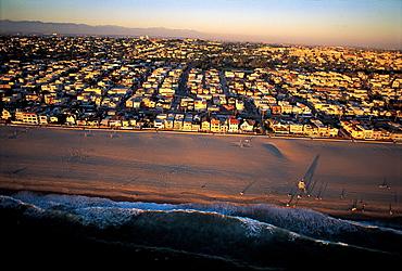 Los Angeles, California, Usa Santa Monica Beach At Dusk, Aerial