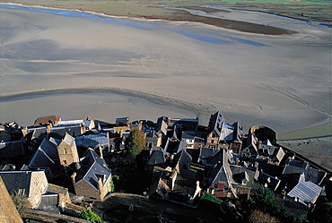 Mt St Michel Houses, Overview, Normandy, France