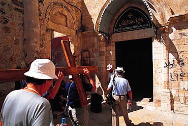 Christian Pilgrims Renting Wood Cross, Jerusalem, Israel