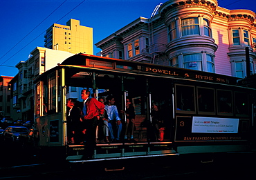 Cable-Car At Dusk On Mason Street, San Francisco, California, Usa