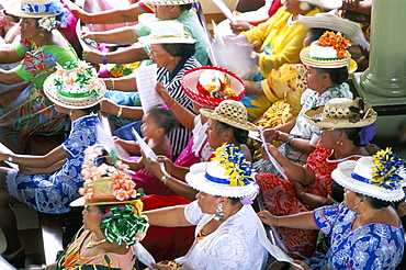 Women members of the congregation wearing hats, Papeete, Tahiti, Society Islands, Pacific Islands, Pacific