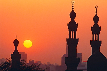 Mosque minarets at sunset, Cairo, Egypt, North Africa
