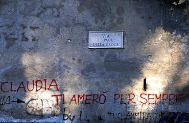 Italy, Rome, Villa Celimontana Gardens, Graffiti (Claudia I Love You For Ever)