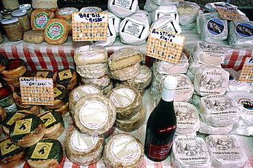 France, Corsica, North, Bastia, Market, Traditional Corsican Cheese Stand