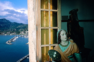 France, Corsica, Balagne, Calvi, Oratory Saint Antoine, Baroque Wooden Statue At Fore, The City Behind