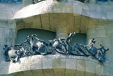Spain, Catalonia, Barcelona, La Pedrera (Casa Mila) Built By Gaudi, Cast Iron Balcony