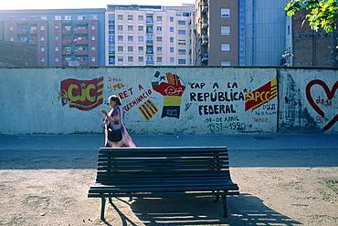 Spain, Catalonia, Barcelona, Popular Housing Quarter, Passer By