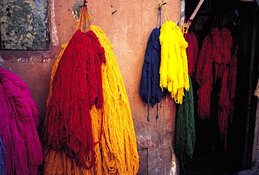 Morocco, Marrakech, The Dyers Souks, Freshly Dyed Wools Drying