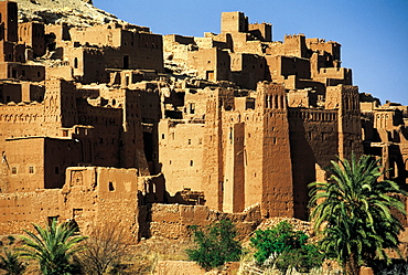 Morocco, Ouarzazate Region, Ait Ben Haddou Kasbah (Mud Fortress) At Spring
