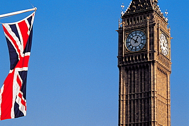 UK, London, Union Jack & Big Ben