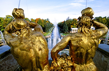 Russia, Saint Petersburg, Peterhof (Petrovorets) Castle And Park, Perspective On The Canal To Baltic Sea, Goldened Statues At Fore