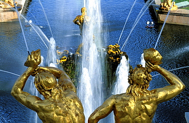 Russia, Saint Petersburg, Peterhof (Petrovorets) Castle And Park, Waterworks Golden Statues At Fore