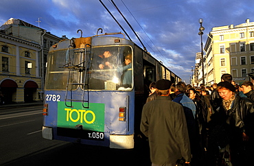Russia, Saint Petersburg, Newsky Prospekt, People Entering An Old Bus