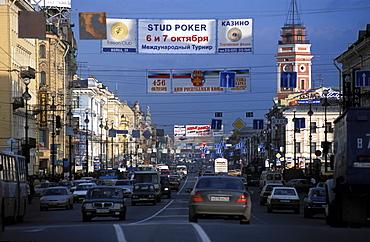 Russia, Saint Petersburg, View On Newsky Prospekt And Traffic