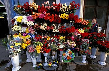 Russia, Saint Petersburg, Newsky Prospekt, Flowers Seller On The Sidewalk