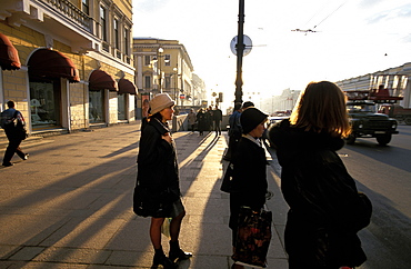 Russia, Saint Petersburg, Newsky Prospekt, People Waiting At Bus Stop