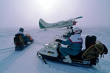 Canada, Quebec In Winter, Otish Mountains, Snowmobile Raid, Plane Bringing Provisions