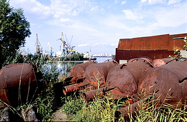 Russia, St-Petersburg, In The Harbour Rusting Buoys