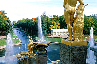 Russia, St-Petersburg, Pedrovorets, Peterhof Palace And Park, Goldened Statue Of The Main Fountain At Fore