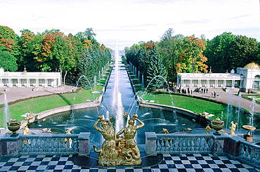Russia, St-Petersburg, Pedrovorets, Peterhof Palace And Park, Goldened Statues Of The Great Waterfall, Architect Leblond