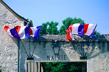 France, To Uraine Val-De-Loire, In Dre-Et-Loire, Small City Hall In A Remote Village, Flags Decorating For The National Day (14th Of July)