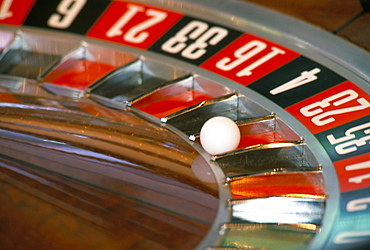 Roulette wheel in casino on board a cruise ship