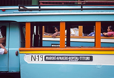 Local bus (truck), at Papeete market, Tahiti, Society Islands, French Polynesia, Pacific