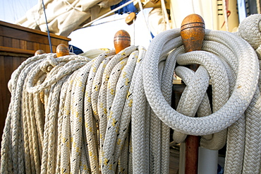 Rope on deck of cruise ship, Southeast Asia, Asia