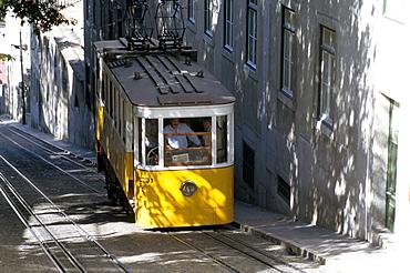 Cable car tram, Lisbon, Portugal, Europe