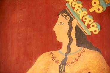 Prince of Lilies fresco, Minoan archaeological site of Knossos, Crete, Greek Islands, Greece, Europe