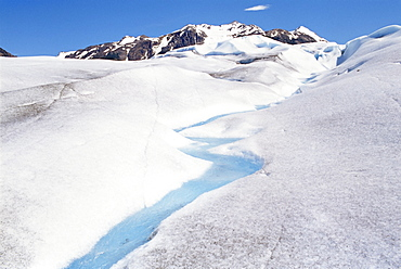Lake Gray Glacier melting in a stream of blue water, Torres del Paine National Park, Patagonia, Chile, South America