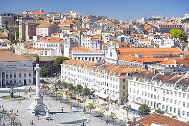 Aerial view of Praca Dom Pedro IV (Rossio Square) and city centre, Lisbon, Portugal, Europe