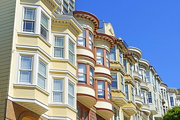 Victorian houses, Russian Hill district, San Francisco, California, United States of America, North America