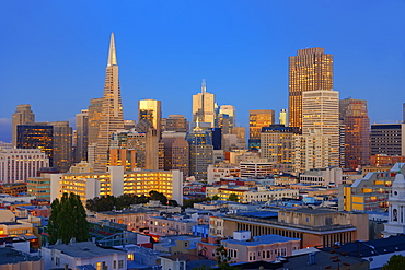 Downtown and TransAmerica Building, San Francisco, California, United States of America, North America