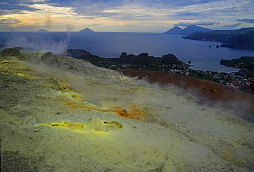Sulphur and fumaroles smoke on volcano Gran Cratere, Vulcano Island, Aeolian Islands, UNESCO World Heritage Site, north of Sicily, Italy, Mediterranean, Europe