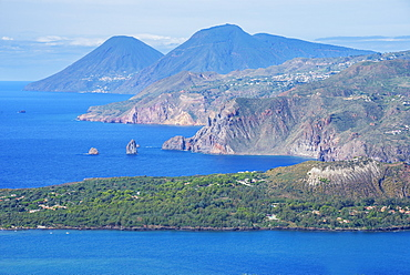 View of Lipari and Salina Island, Vulcano Island, Aeolian Islands, UNESCO World Heritage Site, north of Sicily, Italy, Mediterranean, Europe