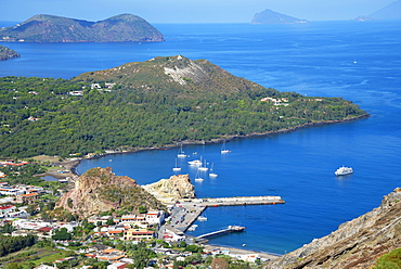 Porto di Levante and Vulcanello view, Lipari and Pannarea Island in the background, Vulcano Island, Aeolian Islands, UNESCO World Heritage Site, north of Sicily, Italy, Mediterranean, Europe