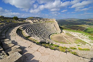 Roman theatre, Segesta, Sicily, Italy, Europe