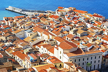 Aerial view of Cefalu from La Rocca, Cefalu, Sicily, Italy, Mediterranean, Europe
