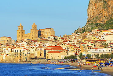 Old town, Cathedral and cliff La Rocca, Cefalu, Sicily, Italy, Mediterranean, Europe