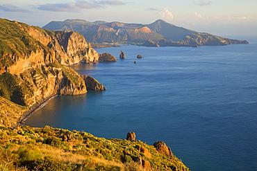 View from Belvedere Quattrocchi, Lipari, Aeolian Islands, UNESCO World Heritage Site, Sicily, Italy, Mediterranean, Europe