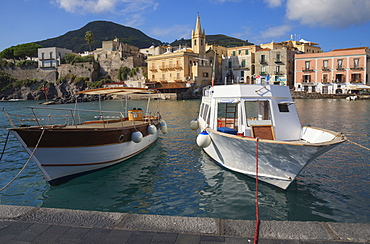 Marina Corta harbor and San Giuseppe church, Lipari Island, Aeolian Islands, UNESCO World Heritage Site, Sicily, Italy, Mediterranean, Europe