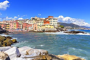 The old fishing village of Boccadasse, Genoa, Liguria, Italy, Europe